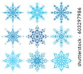 various snowflake shapes... | Shutterstock .eps vector #603297986