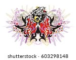 grunge butterfly splashes with... | Shutterstock .eps vector #603298148