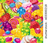 sweet candy seamless pattern | Shutterstock . vector #603300218
