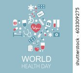world health day vector... | Shutterstock .eps vector #603309275