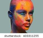 holi festival of colors. female ... | Shutterstock . vector #603311255