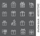 gift box icons set | Shutterstock .eps vector #603327242