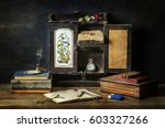 classic still life with old... | Shutterstock . vector #603327266