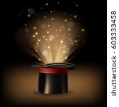 magic hat with magic lights on... | Shutterstock .eps vector #603333458
