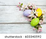 Easter Eggs And Spring Apple...