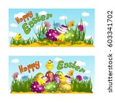 two horizontal greeting cards... | Shutterstock .eps vector #603341702