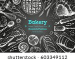 bakery top view frame. hand... | Shutterstock .eps vector #603349112