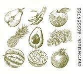 set of hand drawn fruits... | Shutterstock .eps vector #603359702