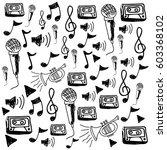 monochrome hand drawing pattern ...   Shutterstock .eps vector #603368102