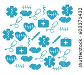 pattern blue silhouette health... | Shutterstock .eps vector #603371432