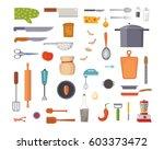 vector set kitchen utensils.... | Shutterstock .eps vector #603373472