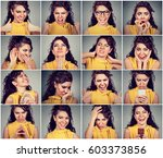 collage of a young woman... | Shutterstock . vector #603373856