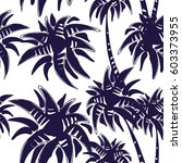 dark blue palm tree seamless... | Shutterstock .eps vector #603373955