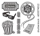 vector cinema set. black and... | Shutterstock .eps vector #603374012