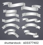 set of white curved ribbon or... | Shutterstock .eps vector #603377402