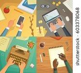 flat design top view on desk... | Shutterstock .eps vector #603378068