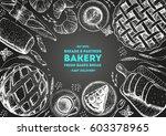 bakery top view frame. hand... | Shutterstock .eps vector #603378965