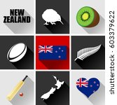 new zealand flat icon set.... | Shutterstock .eps vector #603379622