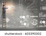 man on the ladder in data... | Shutterstock . vector #603390302