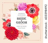 vector wedding invitation with... | Shutterstock .eps vector #603398492