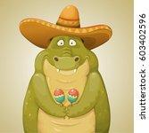 cute cartoon crocodile with...   Shutterstock .eps vector #603402596