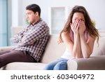 young family in broken... | Shutterstock . vector #603404972