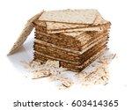 pile of matza and some broken... | Shutterstock . vector #603414365