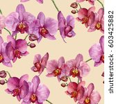 watercolor pattern with orchids.... | Shutterstock . vector #603425882