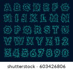 polygonal mesh font  futuristic ... | Shutterstock .eps vector #603426806