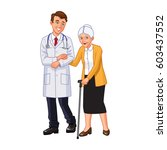 the doctor helps an elderly... | Shutterstock .eps vector #603437552