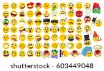 big set of emoicons in a flat... | Shutterstock .eps vector #603449048