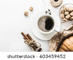 morning coffee on a white table | Shutterstock . vector #603459452