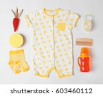 baby clothes and accessories on ... | Shutterstock . vector #603460112