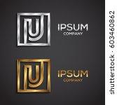 letter u logo square shape ... | Shutterstock .eps vector #603460862