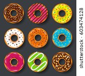 donut  begel with cream.... | Shutterstock .eps vector #603474128