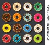 donut  begel with cream.... | Shutterstock .eps vector #603474158