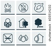 set of 9 eco friendly icons.... | Shutterstock .eps vector #603514232
