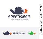 speed snail  vector logo... | Shutterstock .eps vector #603524702