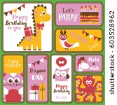 cute happy birthday stickers... | Shutterstock .eps vector #603528962