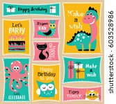 cute happy birthday stickers... | Shutterstock .eps vector #603528986