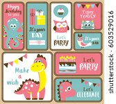 cute happy birthday stickers... | Shutterstock .eps vector #603529016