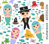 seamless pattern mermaid with... | Shutterstock .eps vector #603531206