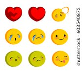 emotional faces smiles cry sick ... | Shutterstock .eps vector #603540872