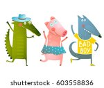 cute baby animals crocodile pig ... | Shutterstock . vector #603558836