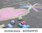 chalk on the sidewalk | Shutterstock . vector #603564935