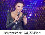beautiful stylish girl in shiny ... | Shutterstock . vector #603568466