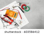 electrician tools and schemes... | Shutterstock . vector #603586412