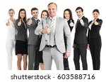 business team showing thumb up... | Shutterstock . vector #603588716