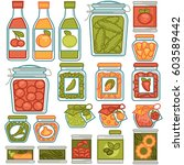preserves in jar pots and... | Shutterstock .eps vector #603589442