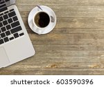 high angle view of office desk... | Shutterstock . vector #603590396